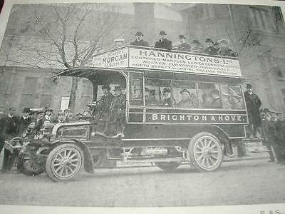 Postcard Real Photo~Transport~Motor Bus~Brighton & Hove With Passengers~Used