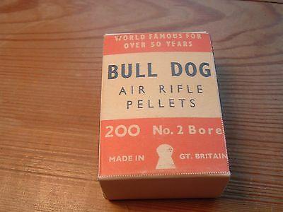"""Full box of 200 vintage """"Bull Dog"""" .22 collectable airgun pellets."""