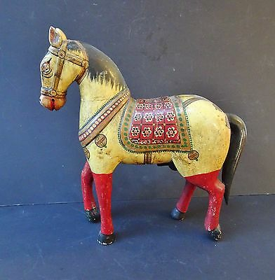 Superb Early 20th Century North Indian Painted Wooden Horse