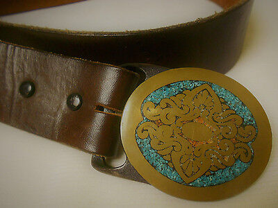 Rare Vintage Tech Ether Guild Brass Belt Buckle Inlaid Coral &Turquoise