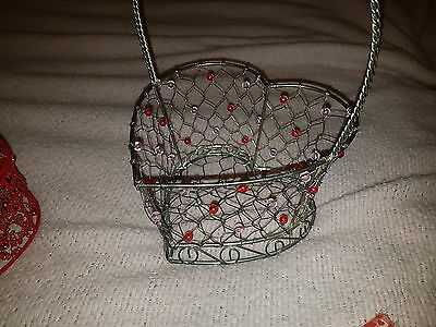 """Lovely Beaded Silver Wire Heart shaped  Handle Basket 12"""" Valentines Day"""