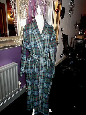 Mens  80S Cesare De Roveri Wool Vintage Dressing Gown Robe Gc 48 Check  Italy