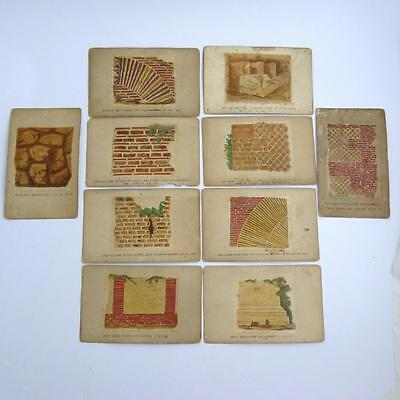 Twelve Antique Architectural Work Cards Setting Out Bricklaying Techniques