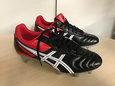 Asics Lethal Tackle SG Rugby Boots Black/Racing Red Uk 10 rrp £60