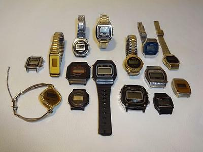 Old Digital Led Lcd Watches Watch Lot For  Batteries, Parts And/or Repair