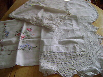 Lot Of 4 Vintage Tablecloths Crochet Lace, Linen & Embroidered For Reuse, Repair