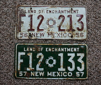 1956 & 1957  New Mexico Farm License Plate Lot of 2