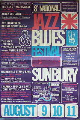 Sunbury Jazz & Blues Festival 1968 Very Rare Original Poster Deep Purple T. Rex