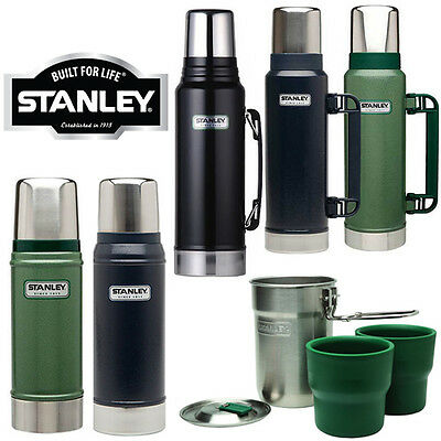Stanley Classic Drinks Flask Litre Stainless Steel Thermos Hot Cold Travel New
