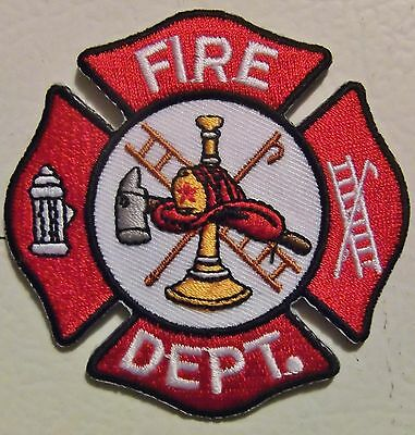 Firefighter -  3 Inch Embroidered Fire Department Patch -  Red & White Fireman