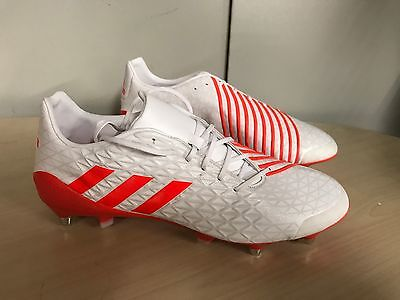 Adidas Predator Malice SG Rugby Boots  rrp £150 UK 11 White / Solar Red
