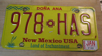 1998 New Mexico License Plate Expired 987 Has
