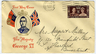 1937 Coronation Illustrated First Day Cover to Connecticut, USA . . .