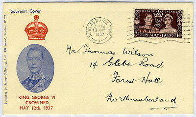 1937 Coronation Illustrated First Day Cover to Northumberland . . .