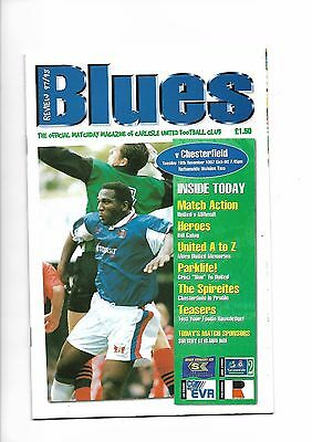 Carlisle United  v  Chesterfield, 18th November 1997