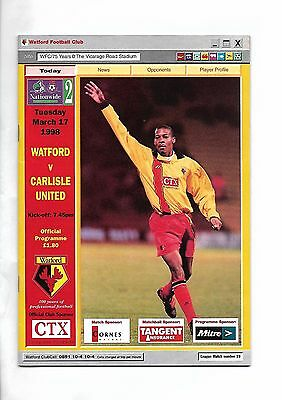 Watford  v  Carlisle United, 17th March 1998