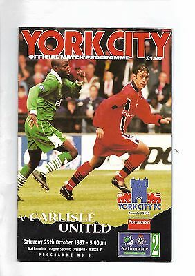 York City  v  Carlisle United, 25th October 1997