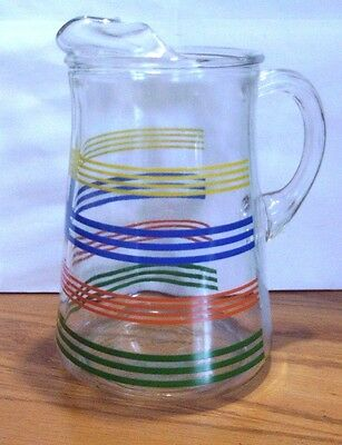 Vintage Striped Beverage Iced Tea Juice Drink  Pitcher With Ice Lip