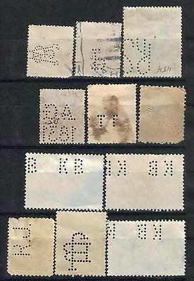 11 EASTERN EUROPE perfin stamps