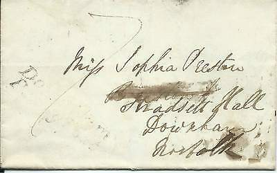 GB 1837 7d Paid Part Entire with Downham Penny Post Cachet from Cambridge