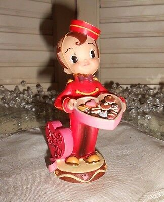 Valentine Figure Bellhop Heart Box Of Candy Demdaco 2003 Sweet Delivery