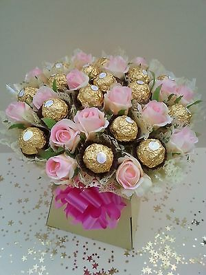 Ferrero Rocher Chocolate Pink Roses Bouquet Sweet Tree Explosion - Perfect Gift