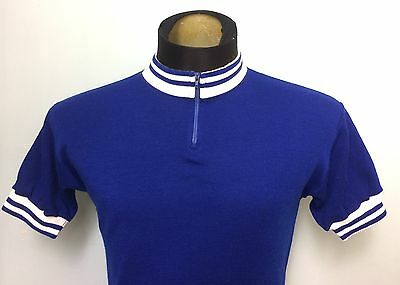 Vintage Wool Cycling Jersey Blue White Short Sleeved