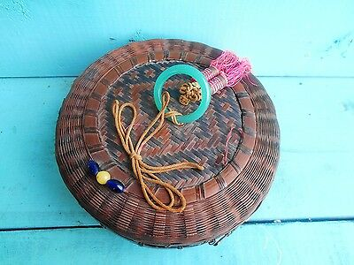 "ANTIQUE SEWING BASKET GLASS BEADS & TASSELS 7"" ROUND Early WICKER"