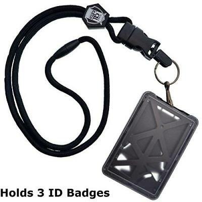 Top Loading THREE ID Card Badge Holder with Heavy Duty Lanyard w/ Detachable New