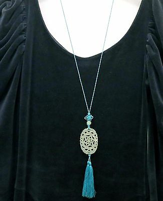 Vintage Chinese Carved Jade Necklace Pendant Tassel 2 Sides Endless Knot 37""
