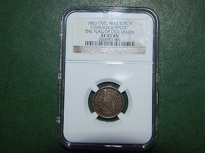 1863 R-2 F-209/414a a 'Spoot' The Flag of Our Union Civil War Token NGC XF-45