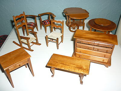 Collection of Dolls House Minature handmade vintage wooden furniture 1:12 scale