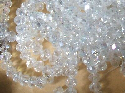 1000  PC  6mm CLEAR AB RONDELLE FACETED CRYSTAL GLASS  BEADS QUALITY.