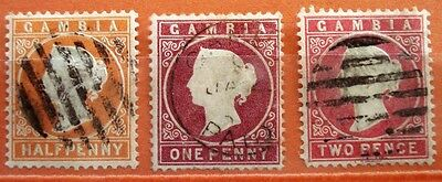 1870 GAMBIA QV ½d-1d-2d USED STAMP