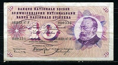 Paper Money Switzerland 1964 10 franc #080331