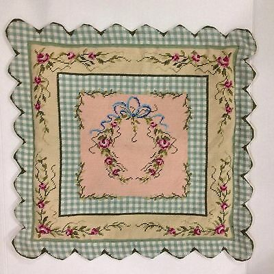 Needlepoint Handmade Shabby Floral Roses Chic Pillow Cover Case Pink Green 23x22