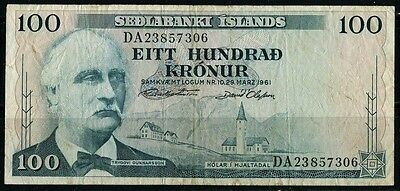 Paper Money Iceland 1961 100 kronur DA23857306