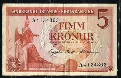 Paper Money Iceland 1957 5 kronur VF