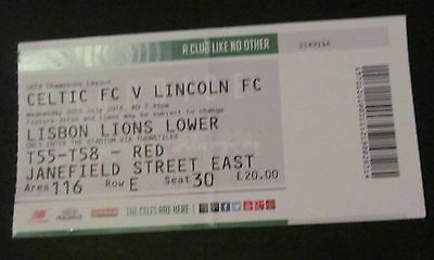 Celtic fc  v  Lincoln Fc  Champions League 2016   Home  Match ticket