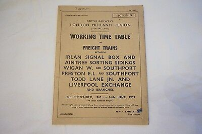 Working Timetable London Midland Region 1962 Irlam Aintree Wigan Freight Sect G