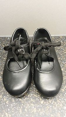 Black Low Heeled Tap Shoes Childrens Size 7