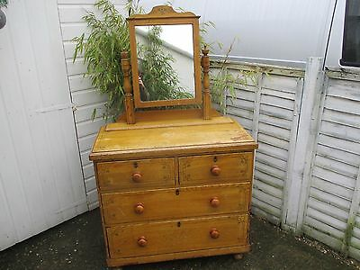 Victorian Original Condition Pitch Pine Dressing Table Chest