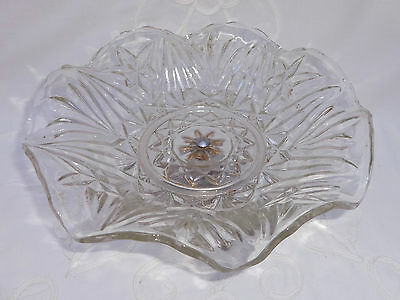 """Attractive Vintage Glass Metal Footed Cake Stand 9.5"""" W x 4.25"""" H"""