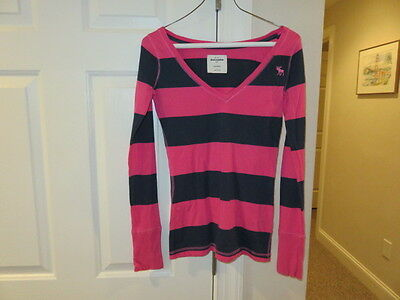VGUC!!  Abercrombie Pink and Navy Striped Cotton Shirt - Size Girls Large -12-14