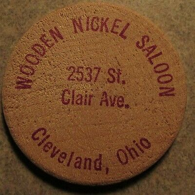 Vintage Wooden Nickel Saloon Cleveland, OH Wooden Nickel - Token Ohio