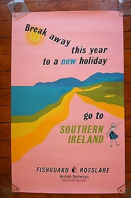 1960s Southern Ireland Western Region Fishguard Original Railway Travel Poster