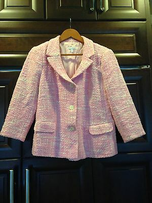 A Pea in the Pod Pink Cotton Tweed Maternity Jacket Blazer Med Pink EXCELLENT