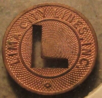 1949 Lima, OH City Lines Inc. Transit Bus Token - Ohio