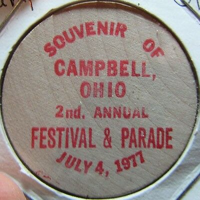 1977 Campbell, OH Festival & Parade Wooden Nickel Token - Ohio