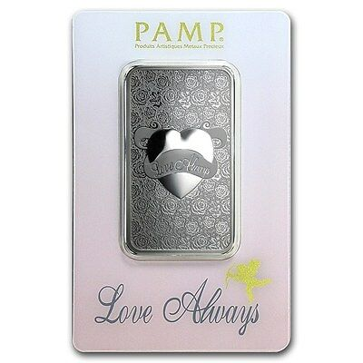 1~Ounce ~ Pure 999 Silver ~ Love Always ~ Pamp Suisse ~Sealed Bar~ $38.88 ~Buy !